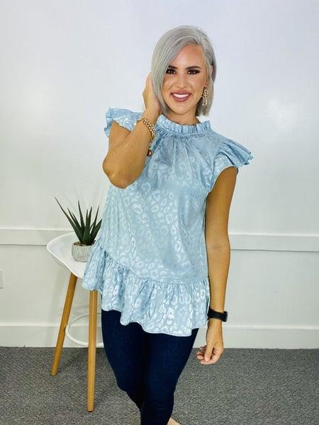Satin leopard print top with frill mock neckline- BLUE
