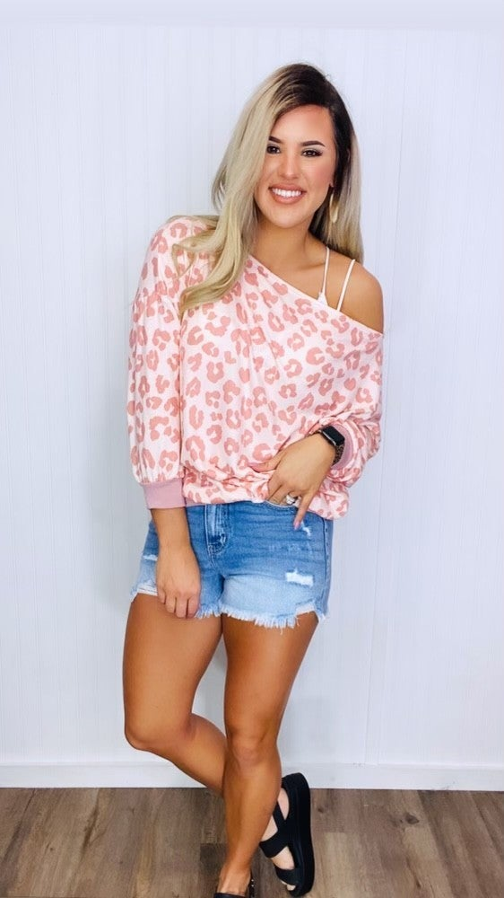 ANIMAL PRINT TOP WITH ONE OFF SHOULD- Pink/Ivory