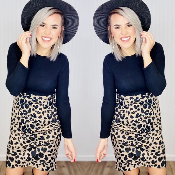 ANIMAL COLOR BLOCK DRESS-Black/Leopard