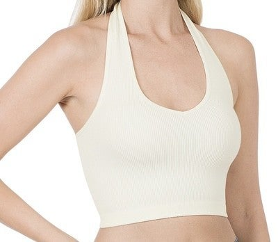 RIBBED SEAMLESS HALTER TANK TOP- Ivory *Final Sale*