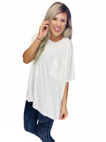 LUXE RAYON ROUND NECK FRONT POCKET TOP-Ivory