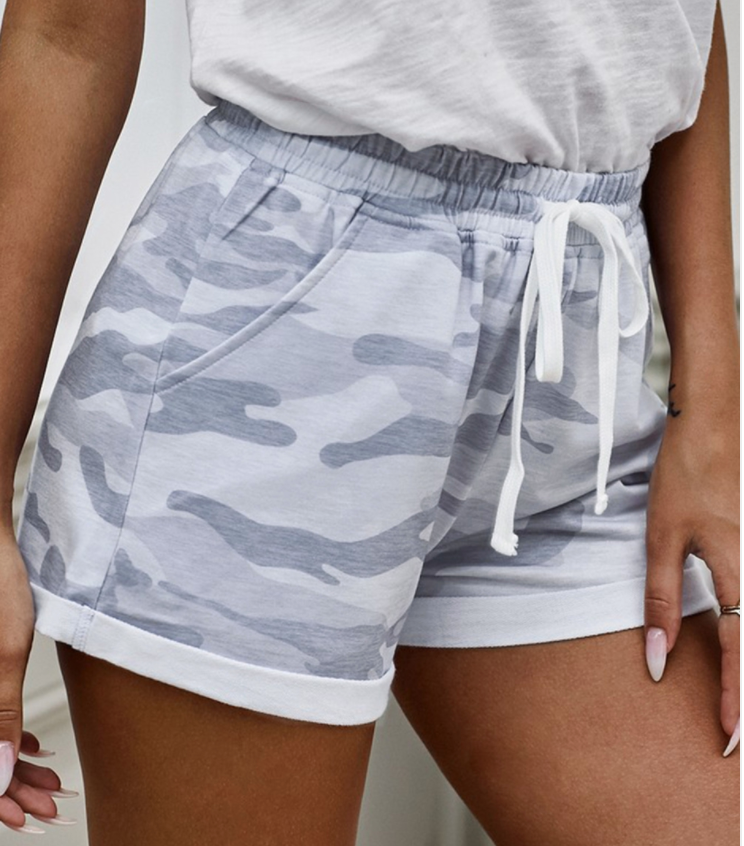 Camo Print Cotton Casual Shorts- GREY