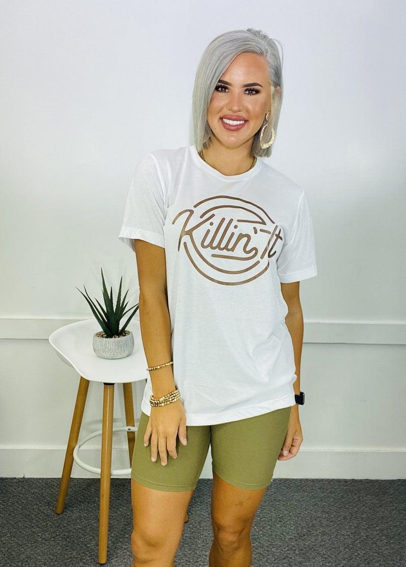 GRAPHIC TEE- Killin' it (white)