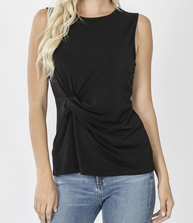 ITY KNOT-FRONT SLEEVELESS TOP- BLACK