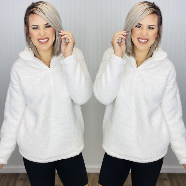 SOFT SHERPA HALF ZIP PULLOVER WITH SIDE POCKETS- IVORY