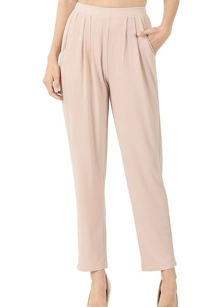 ITY PLEATED WAIST PANTS WITH SIDE POCKETS- DUSTY BLUSH