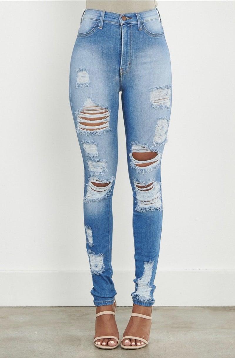 Vibrant Distressed Skinny- Jean