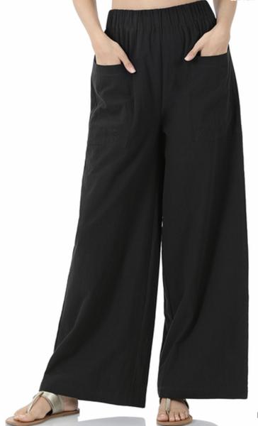 WOVEN COTTON FRONT PATCH POCKET WIDE LEG PANTS - Black