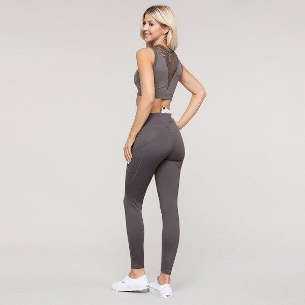 Women's Active High Waist Tech Pocket Workout Leggings-Charcoal