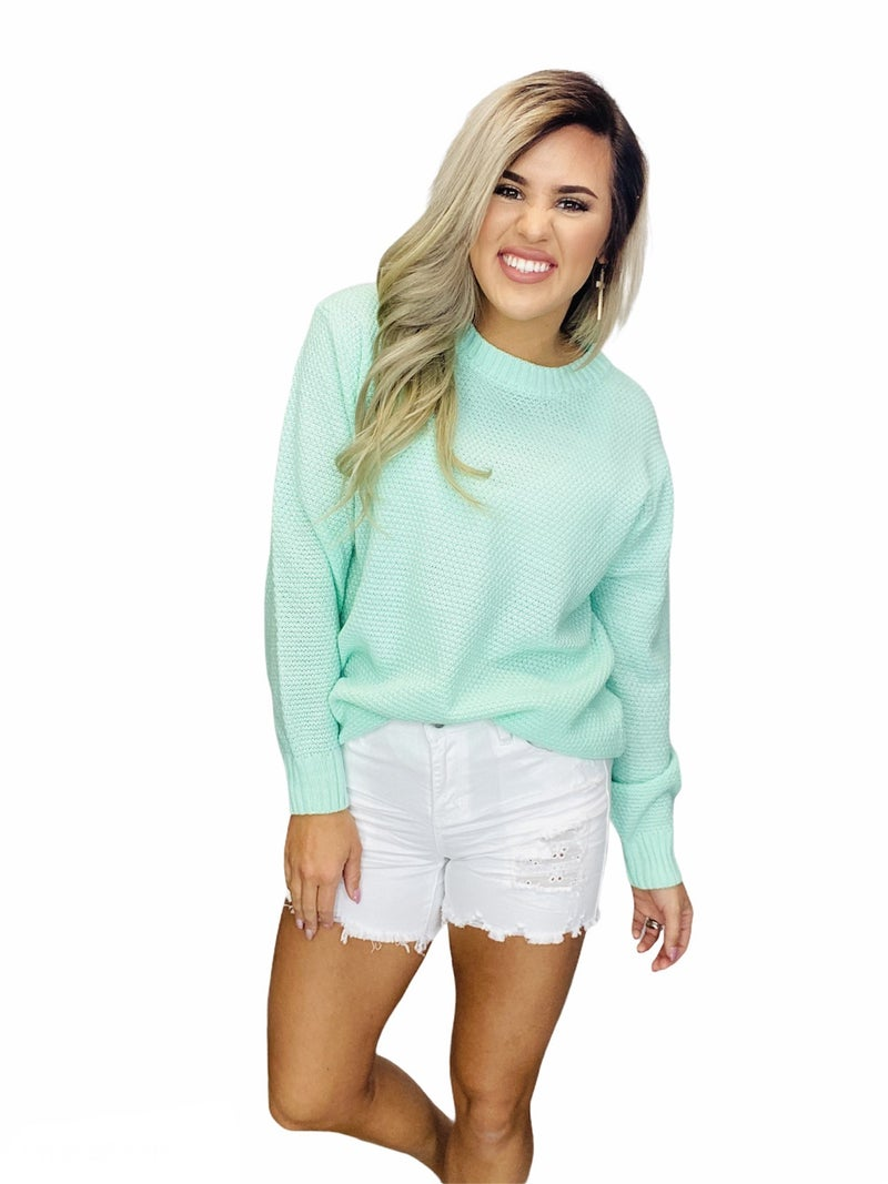 HI-LOW LONG SLEEVE ROUND NECK SWEATER- GREEN MINT