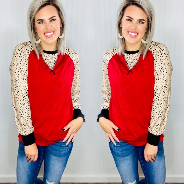 Crew Neck Solid Long Puff Sleeve Top- Wine