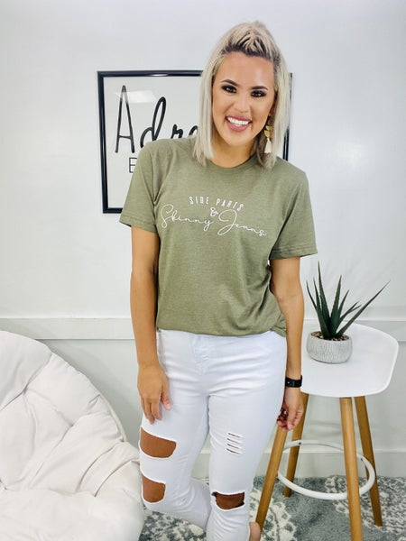 Graphic Side Parts Skinny Jeans- Olive