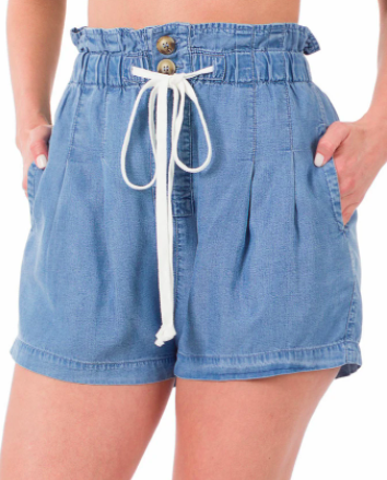 Draw String Double Button Paper bag Shorts- Sky Denim