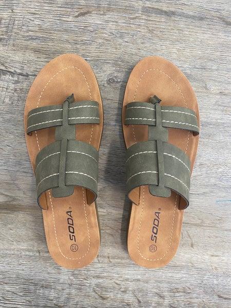 Double Strap Faux Sandals