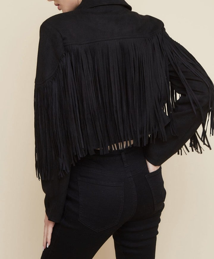 Super soft suede jacket with fringe detail- Black