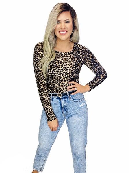 Long Sleeve Print Bodysuit-Cheetah