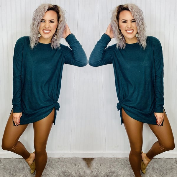 THERMAL WAFFLE ROUND NECK SWEATER- H. Green