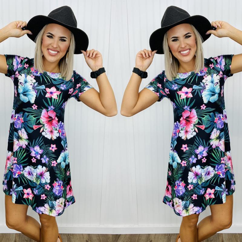 Floral dress- Black