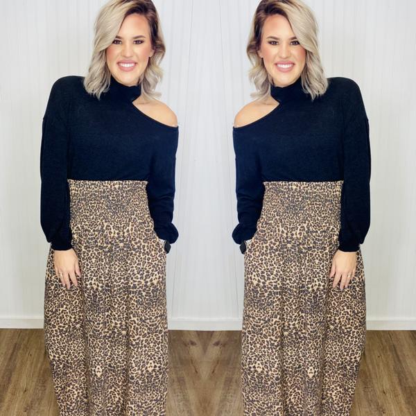 Leopard Cinch Waist Skirt