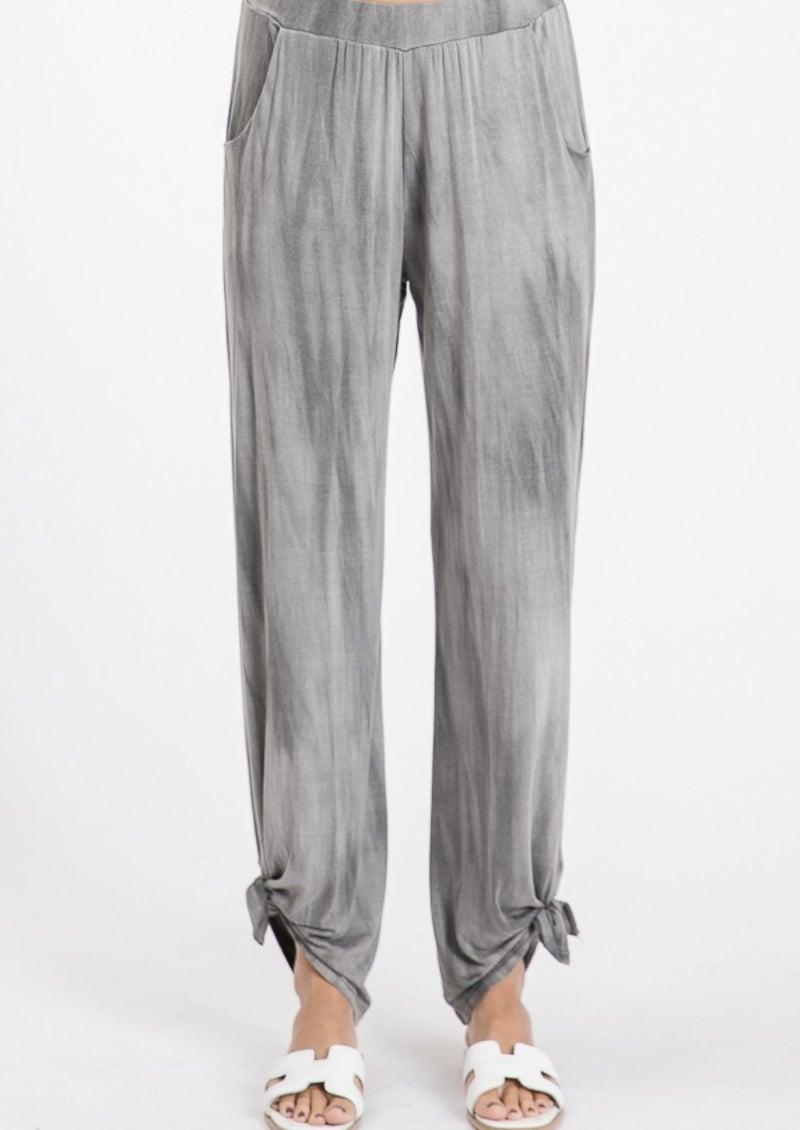 TIE DYE VINTAGE SPLIT SIDE PANTS- Vintage Black