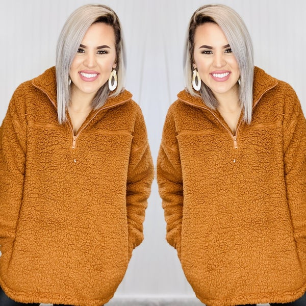 SOFT SHERPA HALF ZIP PULLOVER WITH SIDE POCKETS- ALMOND