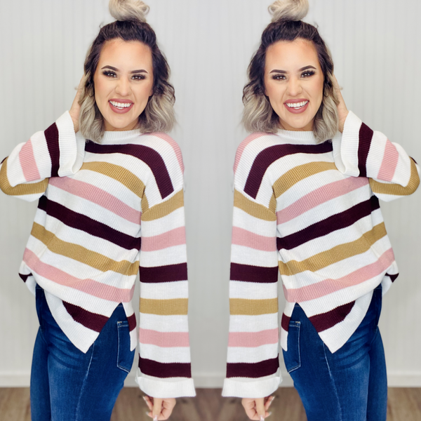 Bell Sleeves Striped Knit Sweater- PINK