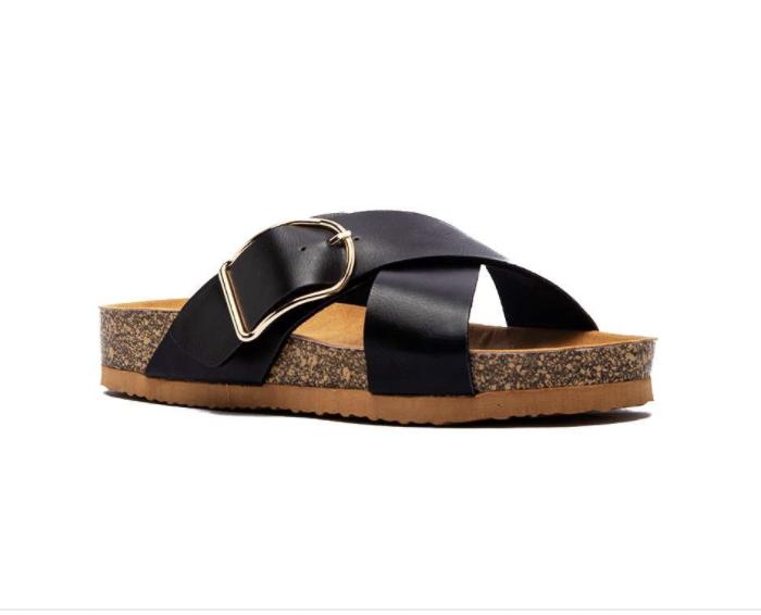Double Cross Sandals- Black