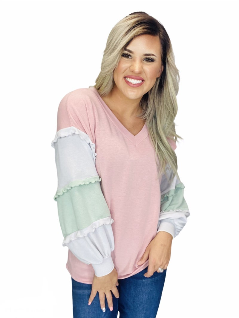 PUFFED RUFFLE COLOR BLOCK TOP-Dusty Pink Combo