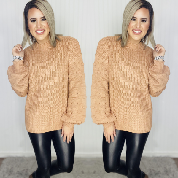 Soft Bubble Knit Circles Embellish Sweater-Camel