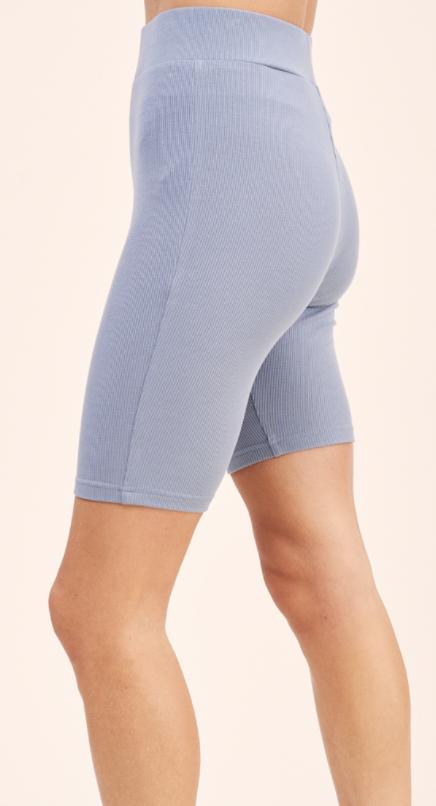 Gwen Short Ribbed Biker Shorts- Steel Blue