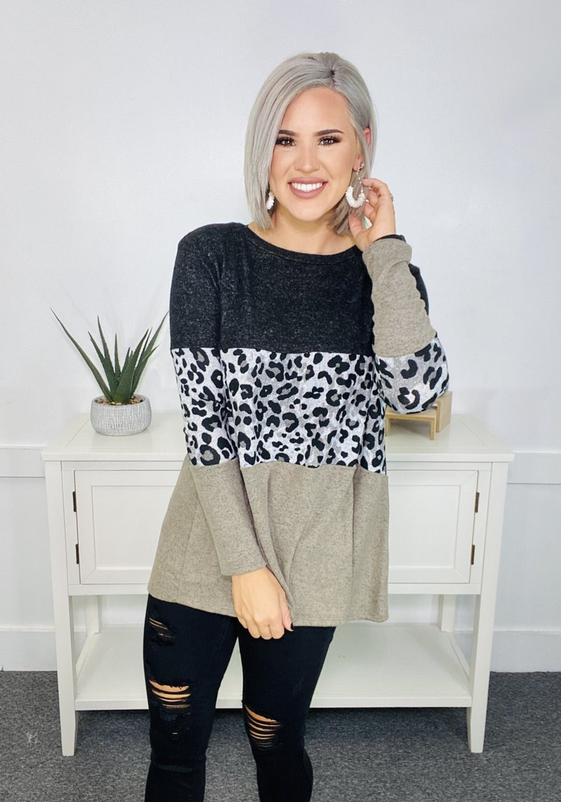 ANIMAL PRINT COLOR BLOCK BRUSHED SWEATER TOP- Olive