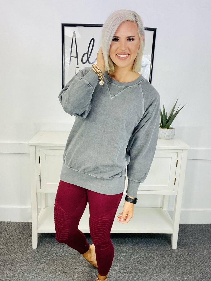 Pigment Colored Sweat Shirt- Charcoal