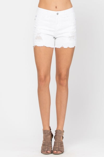 Judy Blue- WHITE LACE PATCH DESTROYED SHORTS