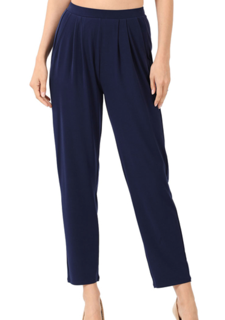 ITY PLEATED WAIST PANTS WITH SIDE POCKETS- Navy