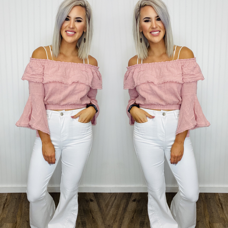 Layered Crop with Bell Sleeve