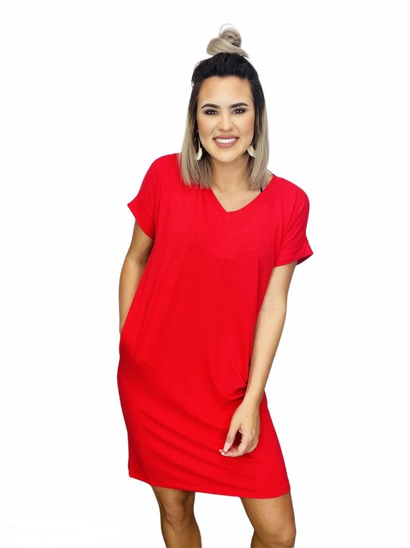 ROLLED SHORT SLEEVE V-NECK DRESS- Ruby