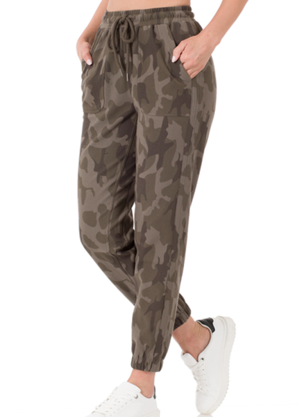 CAMOUFLAGE JOGGER PANTS WITH SIDE PANELS
