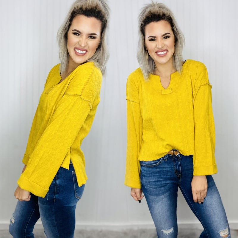 Knit High-Low Textured Top- MUSTARD