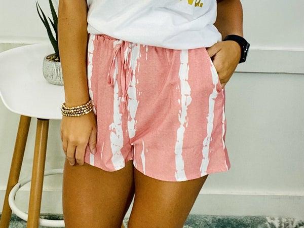 Tie Dye Drawstring Casual Shorts- Pink