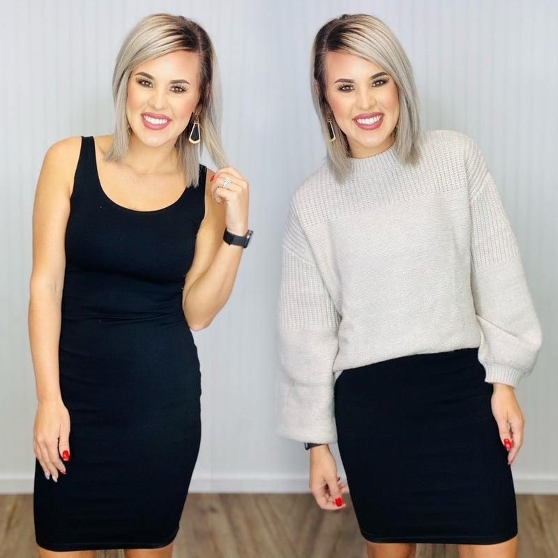 Solid color body con dress-Black