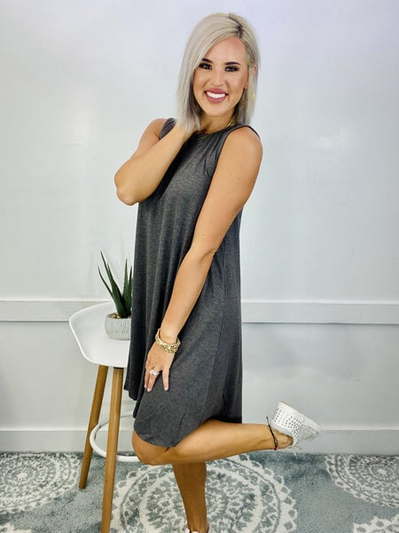 SLEEVELESS FLARED DRESS WITH SIDE POCKETS- CHARCOAL