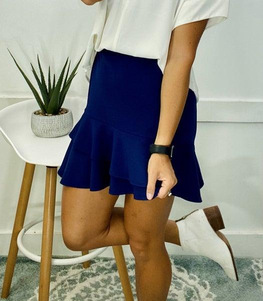 Tulip Hem Skirt- Navy