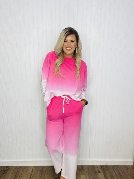F/TERRY DIP DYE RAGLAN SLV TOP & LOUNGE PANTS SET- Hot Pink