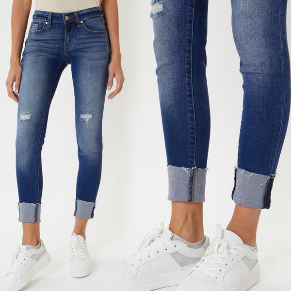 KANCAN Low Rise Hem Detail Skinny Jeans