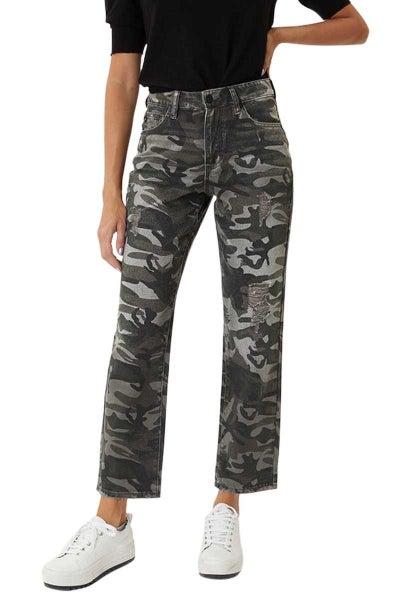 Kancan Camo Distressed Mom Jeans- Camo