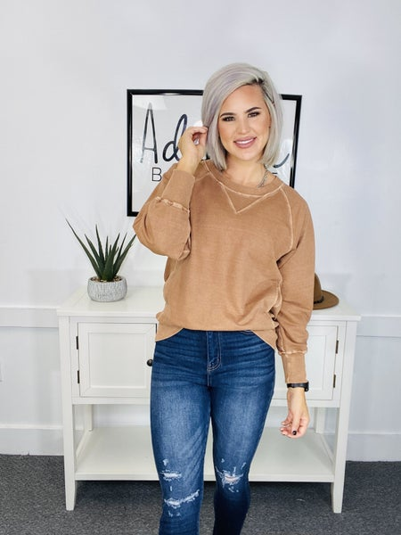 Pigment Colored Sweat Shirt- ALMOND