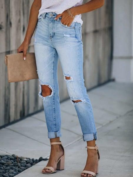Kancan High Rise Distressed Denim Mom Jeans