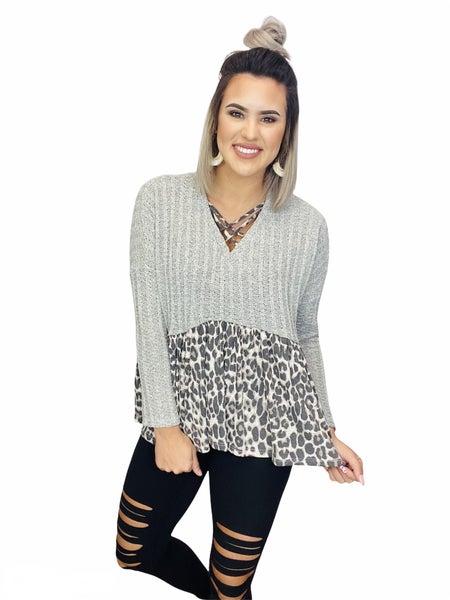 Knit Tunic Criss-Cross Detail- Leopard/ Grey