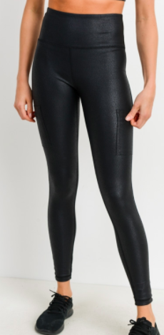 Mono B RED - Triple Zippered Pocket High Leggings-Black