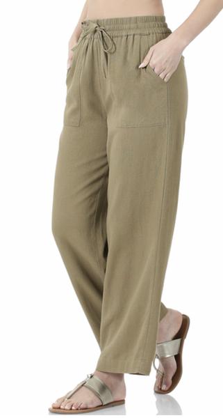 LINEN DRAWSTRING-WAIST PANTS WITH POCKETS- Khaki